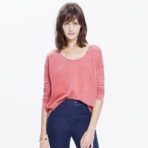 EUC small madewell washed red long sleeve
